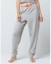 Calvin Klein - Monogram Logo Heather Gray Womens Jogger Pants - Lyst