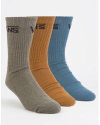 Vans - 3 Pairs Classic Assorted Mens Crew Socks - Lyst
