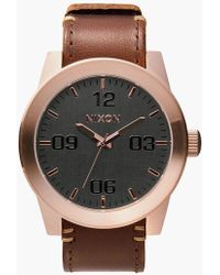 Nixon - Corporal Rose Gold & Brown Watch - Lyst