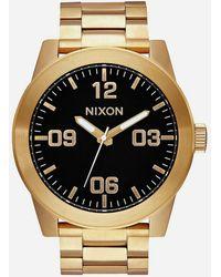 Nixon - Corporal Ss Black & Gold Watch - Lyst