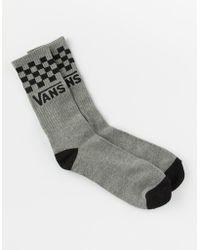 Vans - Checker Heather Gray Mens Crew Socks - Lyst