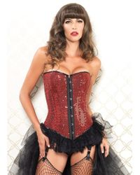 Leg Avenue | Sadie Corset Sequin Silhouette W/steel Front Busk Closure In Red | Lyst