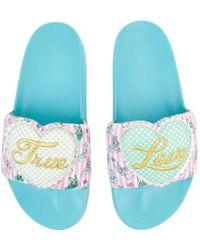 Irregular Choice - My True Love Blue Slip-on Sandal - Lyst