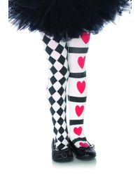 Leg Avenue - Harlequin And Heart Tights In Black/white - Lyst