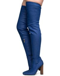 Cape Robbin - Connie-10 Denim Heeled Thigh High Boots - Lyst