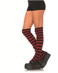 Leg Avenue - The Striped Extra Long Leg Warmers In Black/red - Lyst