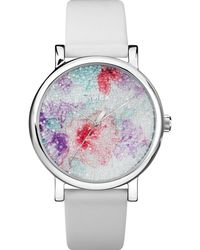 Timex - Watch Crystal Bloom With Swarovski Crystals 38mm Leather Strap Chrome/white - Lyst