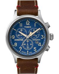 Timex - Watch Expedition Chronograph 42mm Leather Strap Silver-tone/brown/blue - Lyst