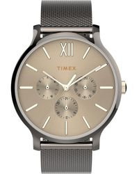 Timex - Watch Transcend Multifunction 38mm Stainless Steel Mesh Band Gunmetal/gunmetal/black - Lyst