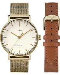 Timex - Watch Fairfield 37mm Mesh Band Giftset With Extra Strap Gold-tone/gold-tone/white - Lyst