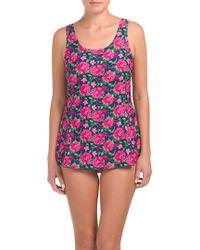 84d03187a8 Tj Maxx Tummy Control One-piece Swim Dress - Lyst
