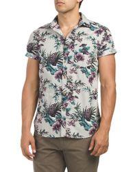 Tj Maxx - Floral Print Button Down Short Sleeve Shirt - Lyst