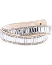 Tj Maxx - Crystal Accent Blush Leather Wrap Bracelet - Lyst