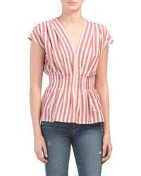 b17cd2313e82 Tj Maxx - Yarn Dye Stripe Tie Front Top - Lyst