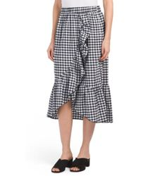 Tj Maxx - Made In Usa Check Faux Wrap Skirt - Lyst