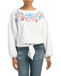 Tj Maxx - Embroidered Tie Front Top - Lyst