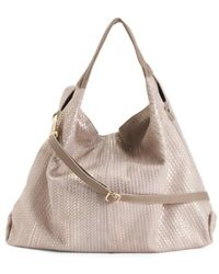 a3adfaf7a9d Lyst - Tj Maxx Made In Italy Woven Metallic Leather Hobo in Metallic