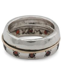 Tj Maxx - Made In Israel 14k Gold And Sterling Silver Garnet Band Ring - Lyst