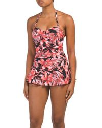 427334ca84a2d Tj Maxx - Tropical Ruched Swim Dress With Flouncy Skirt - Lyst