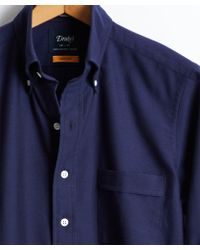 Drake's - Solid Oxford Button Down Shirt In Navy - Lyst