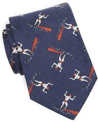 Drake's   Printed Surfer Tie In Navy   Lyst