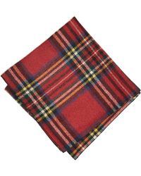 Todd Snyder - Abraham Moon Wool Red Tartan Pocket Square In Red - Lyst
