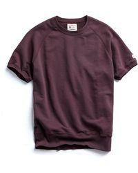 Todd Snyder - Short Sleeve Sweatshirt In Plum - Lyst