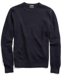Todd Snyder - Merino Waffle Crewneck Sweater In Navy - Lyst