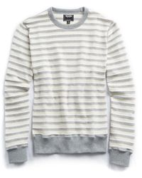 Todd Snyder - Textured Stripe Crew In Grey - Lyst