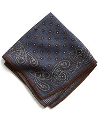 Todd Snyder - Italian Wool Blue/maroon Paisley Pocket Square - Lyst