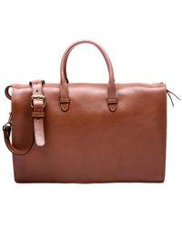 Lotuff Leather Triumph Briefcase In Saddle Tan