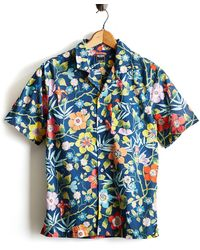 Todd Snyder - Liberty Camp Collar Tropical Print In Blue - Lyst