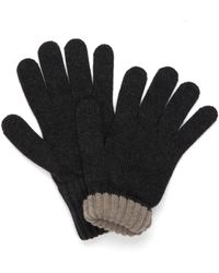 Drake's - Drakes Grey Solid Wool Tipped Gloves - Lyst