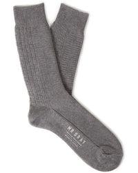 Mr Gray - Simple Aran Block Socks In Dark Grey - Lyst