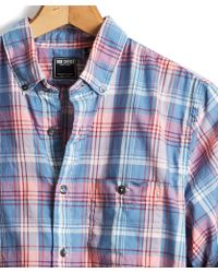Todd Snyder - Slim Fit Blue And Pink Madras Shirt - Lyst