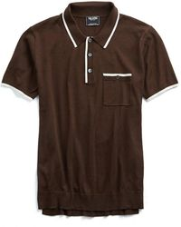 Todd Snyder - Italian Silk/cotton Tipped Knit Polo In Brown - Lyst