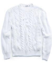Inis Meáin - Cabled Cotton Beach Sweater In White - Lyst