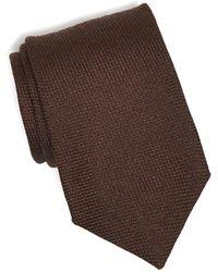 Drake's - Wool/silk Solid Tie In Brown - Lyst