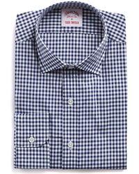 Hamilton - White And Navy Gingham Check Poplin Shirt - Lyst
