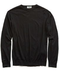 John Smedley | John Smedley Hatfield Cotton Crewneck Sweater In Black | Lyst