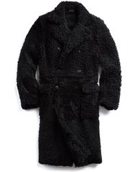 Todd Snyder - Shearling Double Breasted Topcoat In Black - Lyst