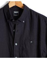 Todd Snyder - Button Down Linen Shirt In Black - Lyst