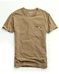Todd Snyder - Made In L.a. Garment Dyed Pocket T-shirt In Tan - Lyst