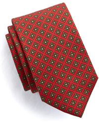 Drake's - Floral Medallion Tie In Red Silk - Lyst