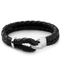 Miansai - Beacon Black Leather Bracelet In Sterling Silver - Lyst