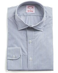 Hamilton - Navy And White Stripe Poplin Shirt - Lyst