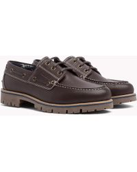 Tommy Hilfiger - Leather Lace-up Boat Shoes - Lyst