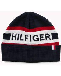 6ab62d94 Tommy Hilfiger - Logo Wool Blend Beanie - Lyst