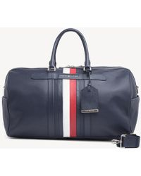 76743d9276 Tommy Hilfiger Corporate Mix Faux Leather Weekender Bag In Black in Black  for Men - Lyst