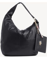 e60a7115 Tommy Hilfiger Pebbled Leather Hobo in Black - Lyst